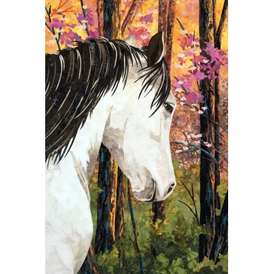 """Art Quilt with horse """"A Walk In The Woods"""", Free shipping, Take pick up in store to receive it for free in the mail"""
