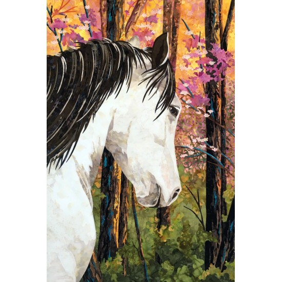 "Art Quilt with horse ""A Walk In The Woods"", Free shipping, Take pick up in store to receive it for free in the mail"