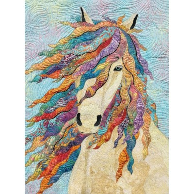 Art Quilt with white horse CHARMIENE / HARMONY